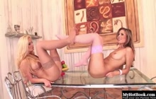 Hot lovers Peaches and Sandra Shine foot fuck each other