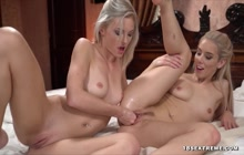 Charming blondes in lesbian fisting video